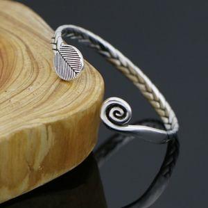 NEW Unisex 925 Silver Braided Swirl Cuff Bracelet